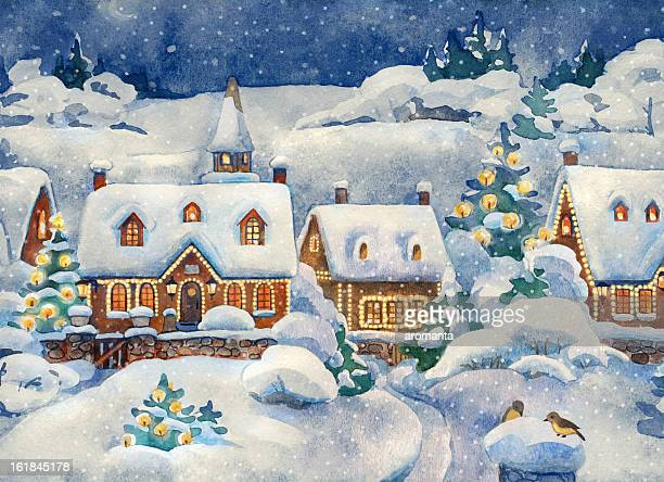 a christmas card that shows a winter village - postcard stock illustrations, clip art, cartoons, & icons