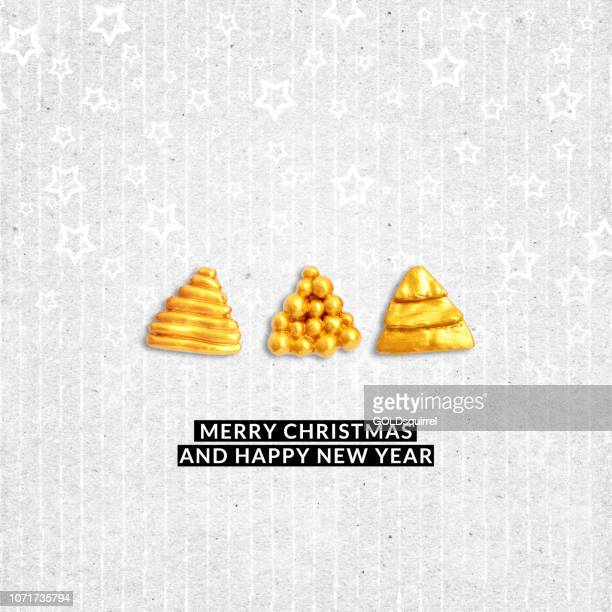 Christmas card with three abstract gold Christmas Trees made of plasticine - uneven raw gray textured background with narrow vertical lines with white lovely painted stars