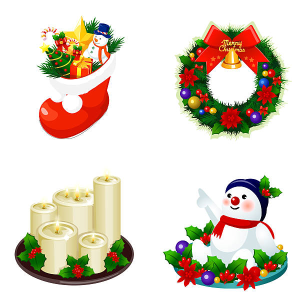 Christmas decorations displayed against white background