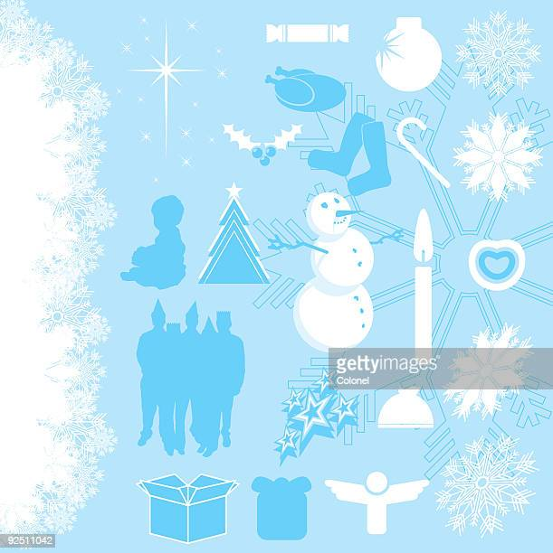 christmas elements 1 (vector) - dessert topping stock illustrations, clip art, cartoons, & icons