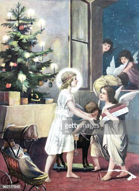 christmas eve - girl at the christmas tree receiving gifts from angels - christmas past and christmas present stock illustrations