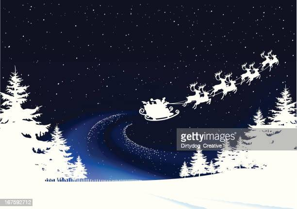 christmas eve, santa takes off on his rounds - sleigh stock illustrations
