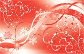 Christmas floral background with a snowflakes, vector