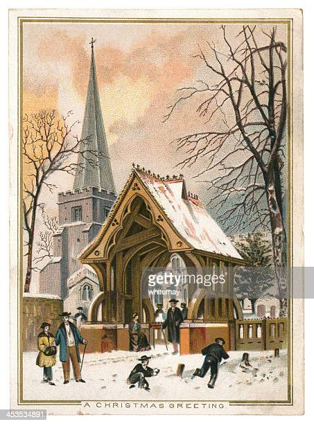 christmas greetings card, 1884 - greeting card stock illustrations, clip art, cartoons, & icons