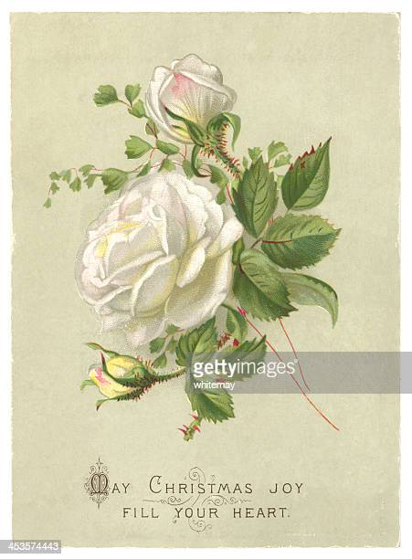 christmas greetings card, 1885 - english culture stock illustrations