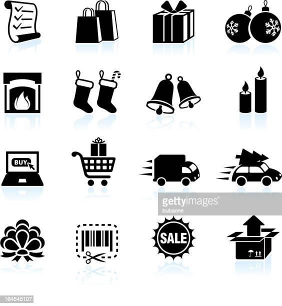 christmas holiday shopping black & white vector icon set. - shopping list stock illustrations, clip art, cartoons, & icons