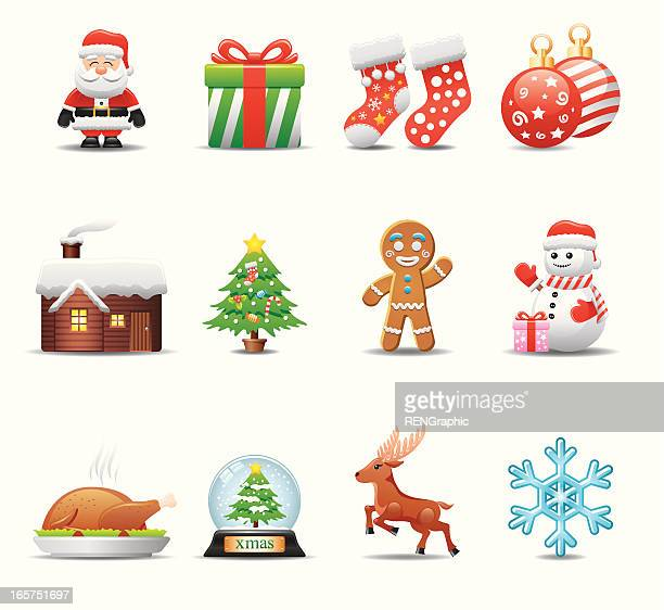 christmas icon set | elegant series - gingerbread man stock illustrations