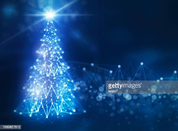 christmas in digital space with christmas tree made of network connections - fiber stock illustrations