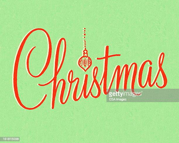 christmas in red type - writing stock illustrations