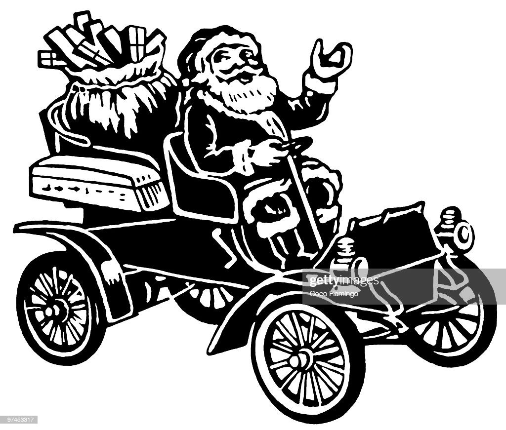 A Christmas inspired illustration of Santa in a car full of gifts : stock illustration