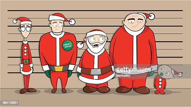 christmas line-up - arrest stock illustrations, clip art, cartoons, & icons