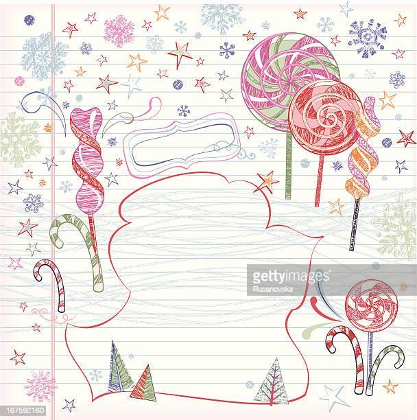 ロリポップ(クリスマスの背景スケッチ - ペパーミント点のイラスト素材/クリップアート素材/マンガ素材/アイコン素材