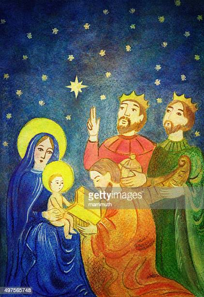christmas nativity scene - star of bethlehem religious symbol stock illustrations, clip art, cartoons, & icons