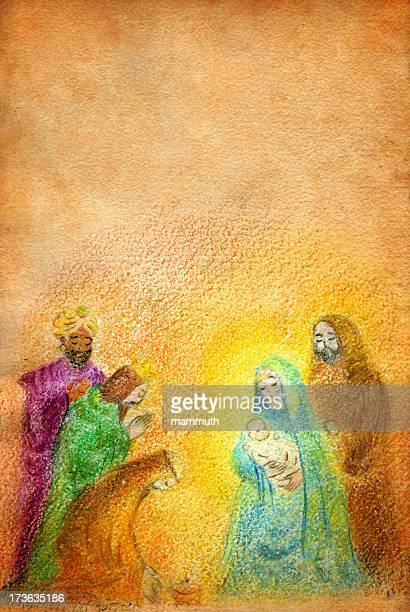 christmas nativity with wise men - nativity scene stock illustrations