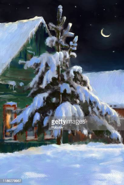 christmas night in the village - spruce tree stock illustrations