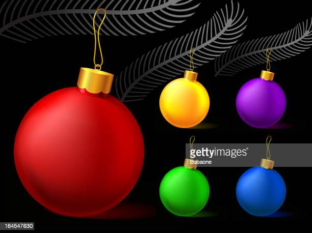 Weihnachten Weihnachtsschmuck auf schwarzem Hintergrund.