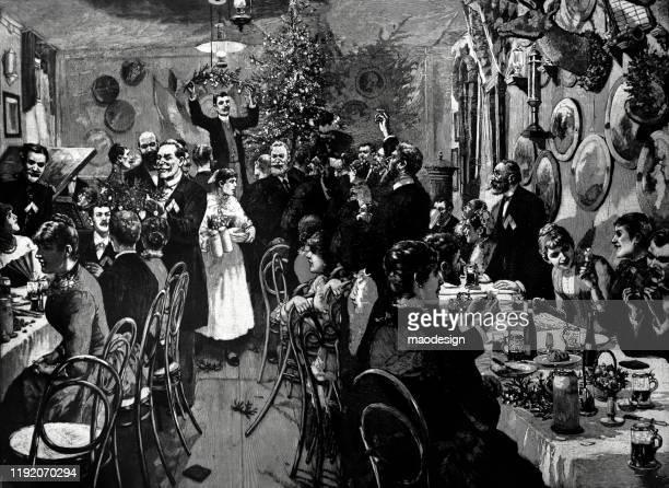 ilustrações, clipart, desenhos animados e ícones de festa de natal no restaurante - 1887
