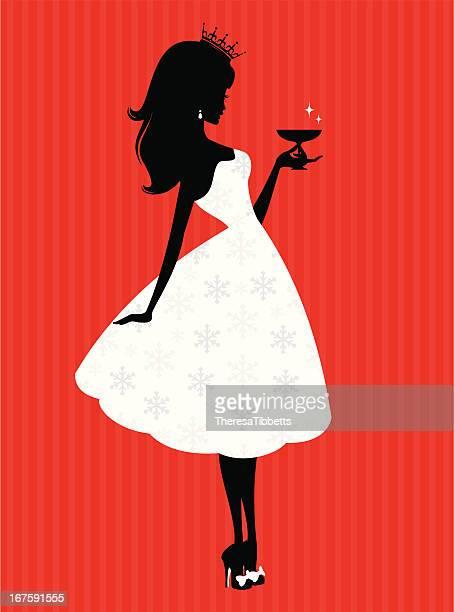 christmas party princess - princess stock illustrations