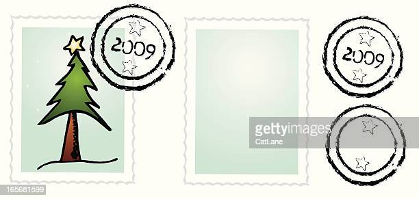 christmas postage set - 2009 stock illustrations