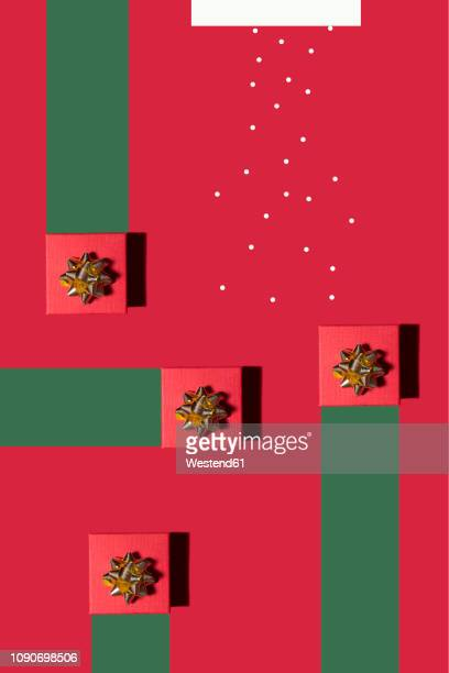 christmas presenta and snow, concept, 3d rendering - christmas still life stock illustrations