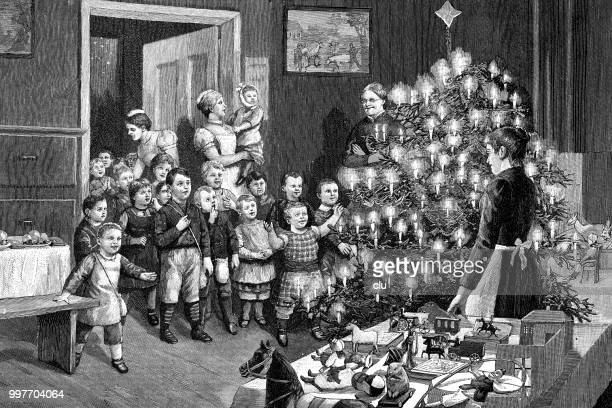 christmas presents for orphans - christmas past and christmas present stock illustrations