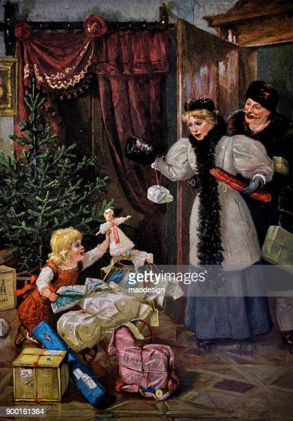 christmas scene in the living room. young girl unpacking presents before christmas. parents are shocked - 1896 - archival stock illustrations, clip art, cartoons, & icons
