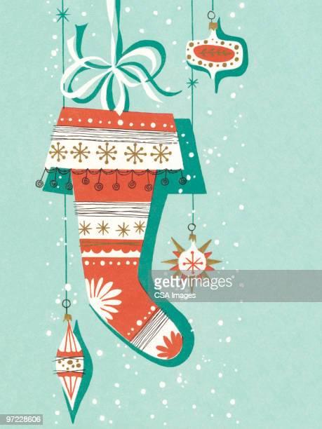 christmas stocking - old fashioned stock illustrations