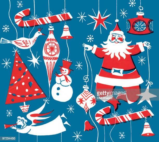 christmas symbols - old fashioned stock illustrations