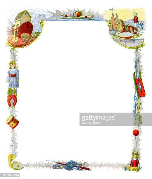 christmas toy border - christmas past and christmas present stock illustrations