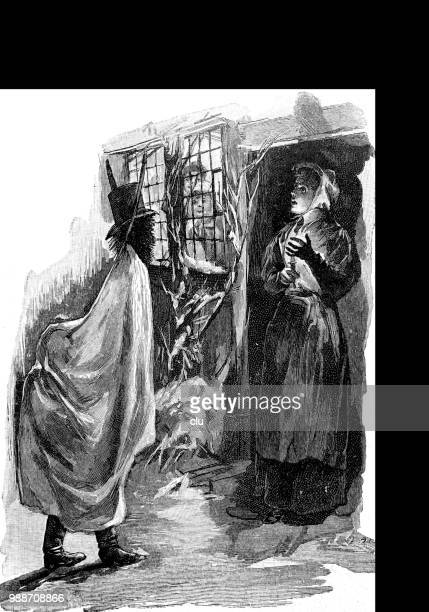 christmas tradition: the habersack going from door to door - christmas past and christmas present stock illustrations