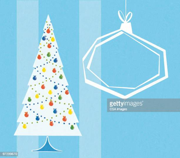 Christmas Tree and Outlined Ornament