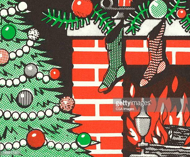 Christmas Tree and Stockings Hung on a Fireplace