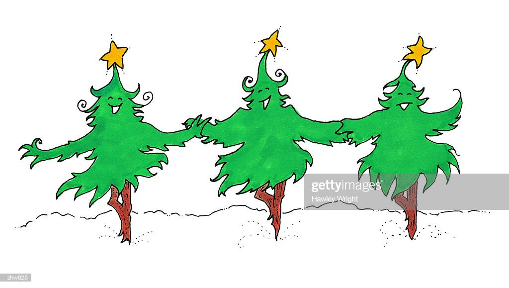 Christmas Tree Chorus Line : Stock Illustration
