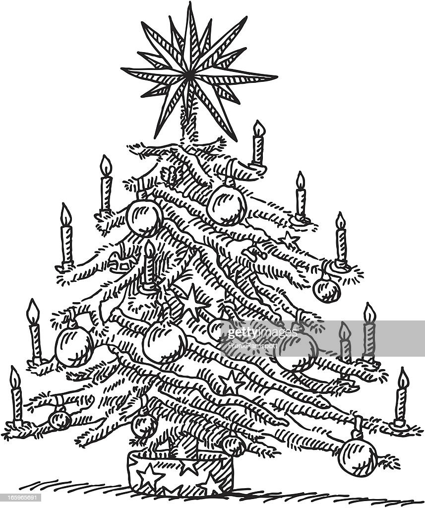 Christmas Tree Drawing : Stock Illustration