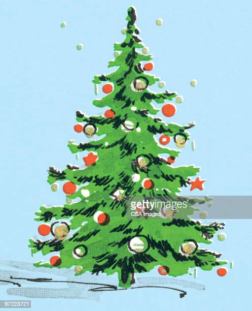 christmas tree - old fashioned stock illustrations