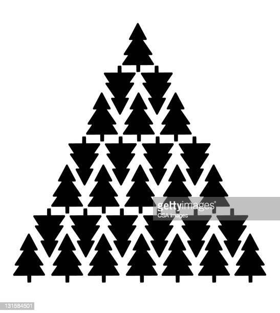 illustrations, cliparts, dessins animés et icônes de christmas tree made of christmas trees - pin