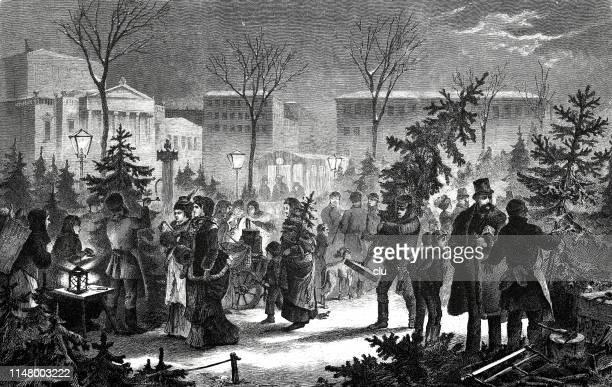 ilustraciones, imágenes clip art, dibujos animados e iconos de stock de mercado de árboles de navidad en leipzig - puesto de mercado