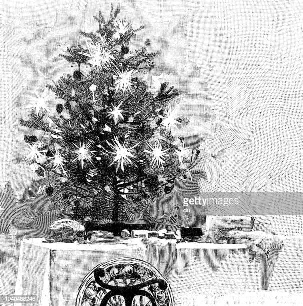 christmas tree on table - christmas past and christmas present stock illustrations
