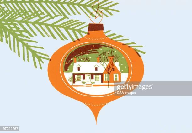 christmas tree ornament - branch stock illustrations