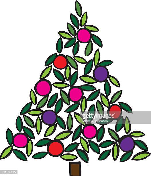 a christmas tree with bauble ornaments - number of people stock illustrations, clip art, cartoons, & icons