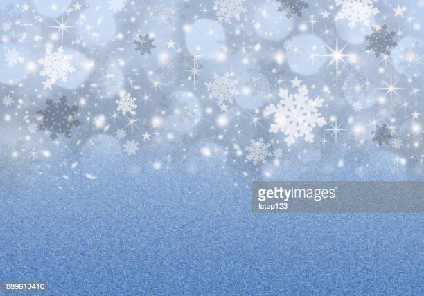 Christmas, Winter background of snowflakes and sparkling holiday lights.