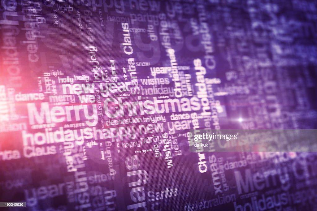 Christmas Word Cloud On Lcd Display stock illustration
