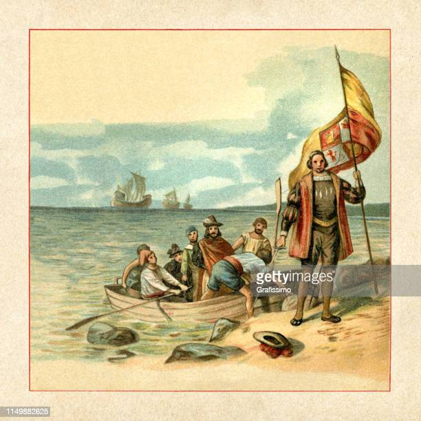 ilustraciones, imágenes clip art, dibujos animados e iconos de stock de cristóbal colón aterrizando en américa 1492 - cristobal colon