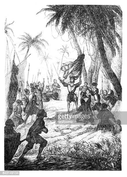 ilustraciones, imágenes clip art, dibujos animados e iconos de stock de christopher columbus en las bahamas 1492 - cristobal colon