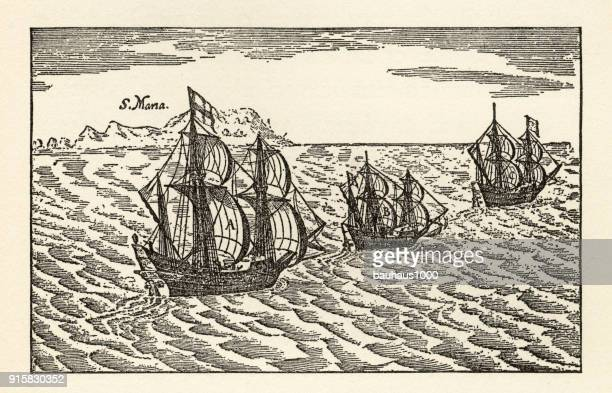 christopher columbus sailing ships engraving, circa 1400s - boat captain stock illustrations, clip art, cartoons, & icons