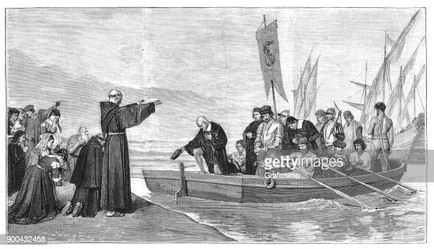 ilustraciones, imágenes clip art, dibujos animados e iconos de stock de christopher columbus a partir su viaje 3 de agosto de 1492 en el puerto de palos - cristobal colon