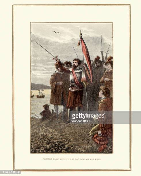 Christopher Columbus takes pocession of San Salvador for Spain
