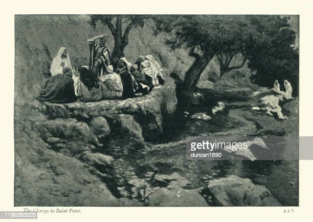 stockillustraties, clipart, cartoons en iconen met de aanklacht van christus aan petrus, het nieuwe testament - gelovige