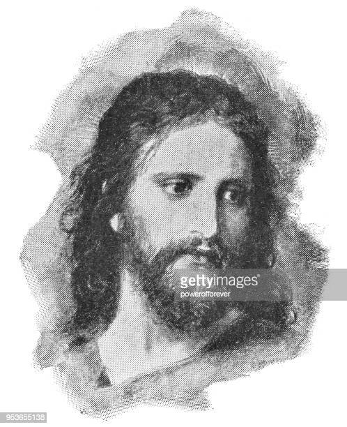 christ's image by heinrich hofmann - 19th century - jesus christ stock illustrations, clip art, cartoons, & icons
