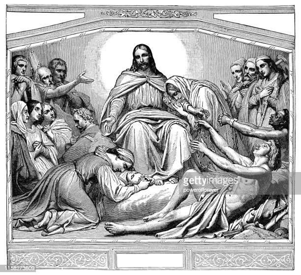 christus consolator by art scheffer - 19th century - art and craft stock illustrations, clip art, cartoons, & icons